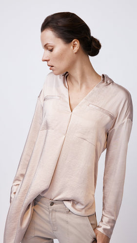 Modern Side Tie Popover Shirt in Pink by b new york