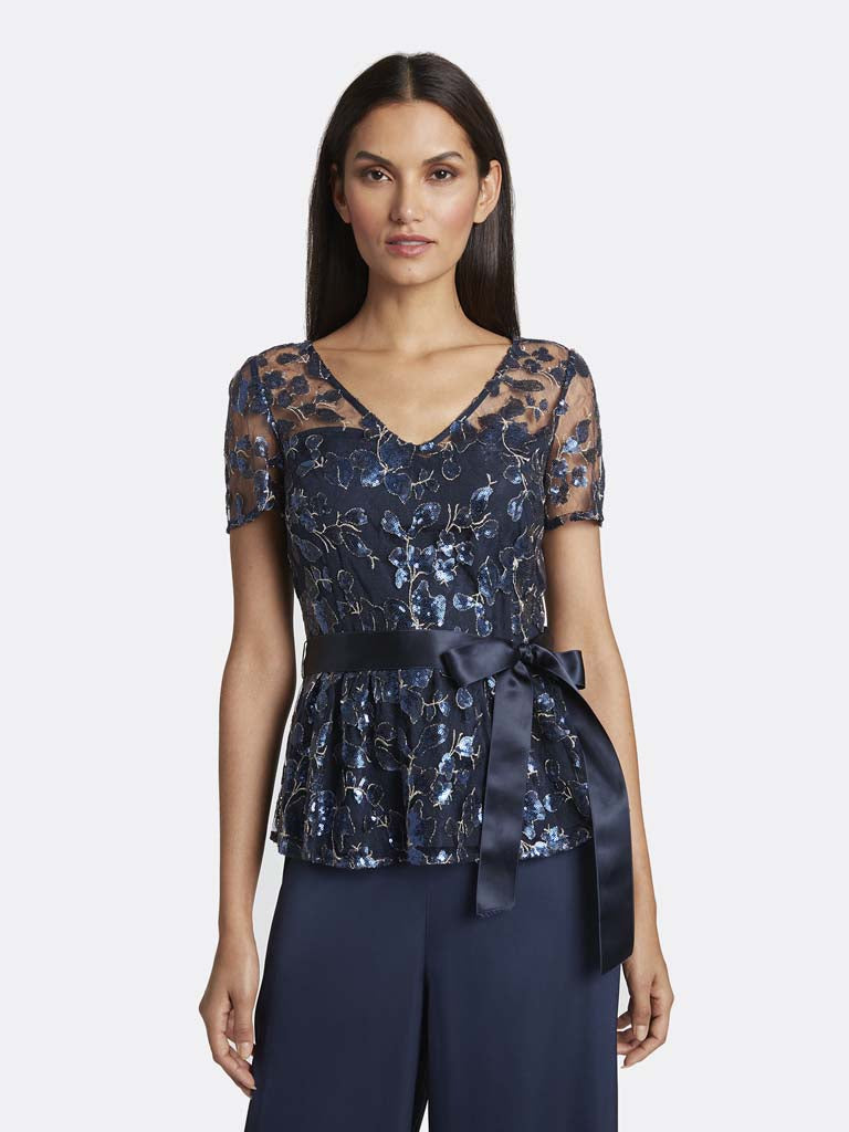 Sequin Embroidered Illusion Blouse