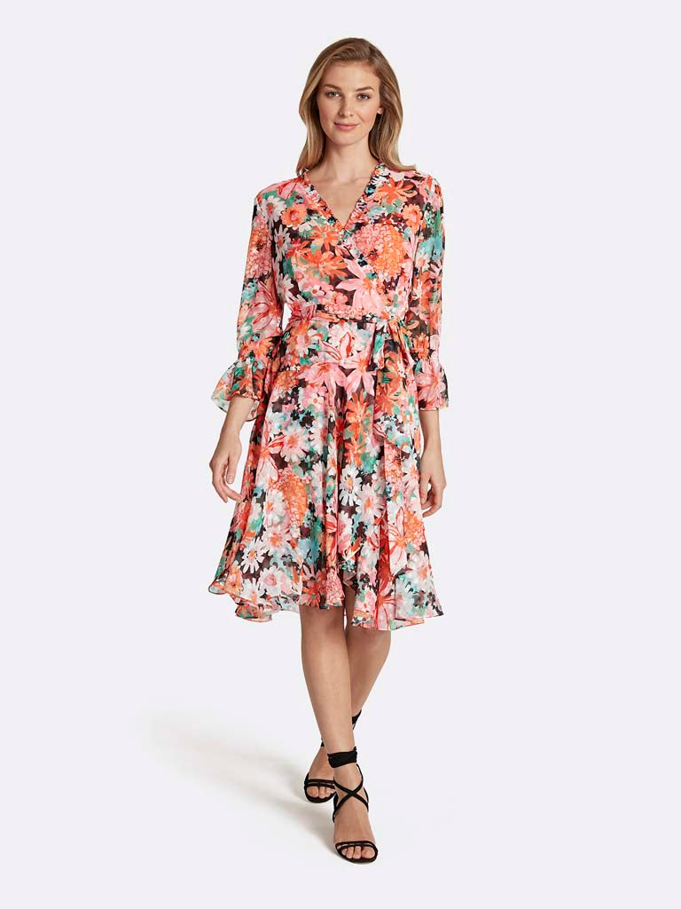 Floral Smocked-Sleeve Wrap Dress
