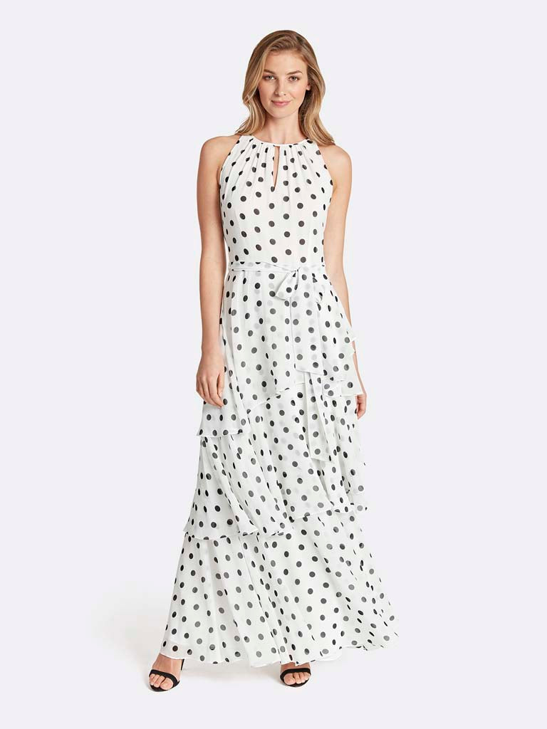 Plus Polka Dot Pleated Gown