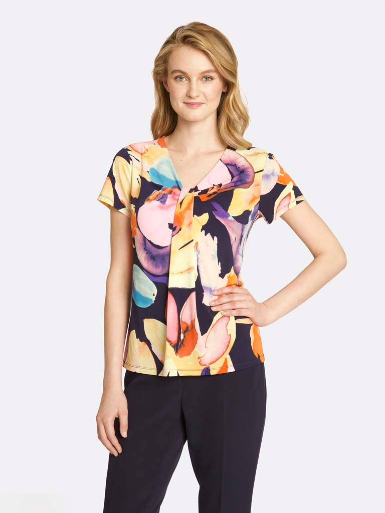 Draped Abstract Floral Top