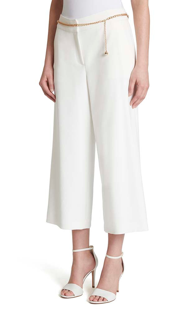 Chain-Belted Cropped Wide-Leg Pants
