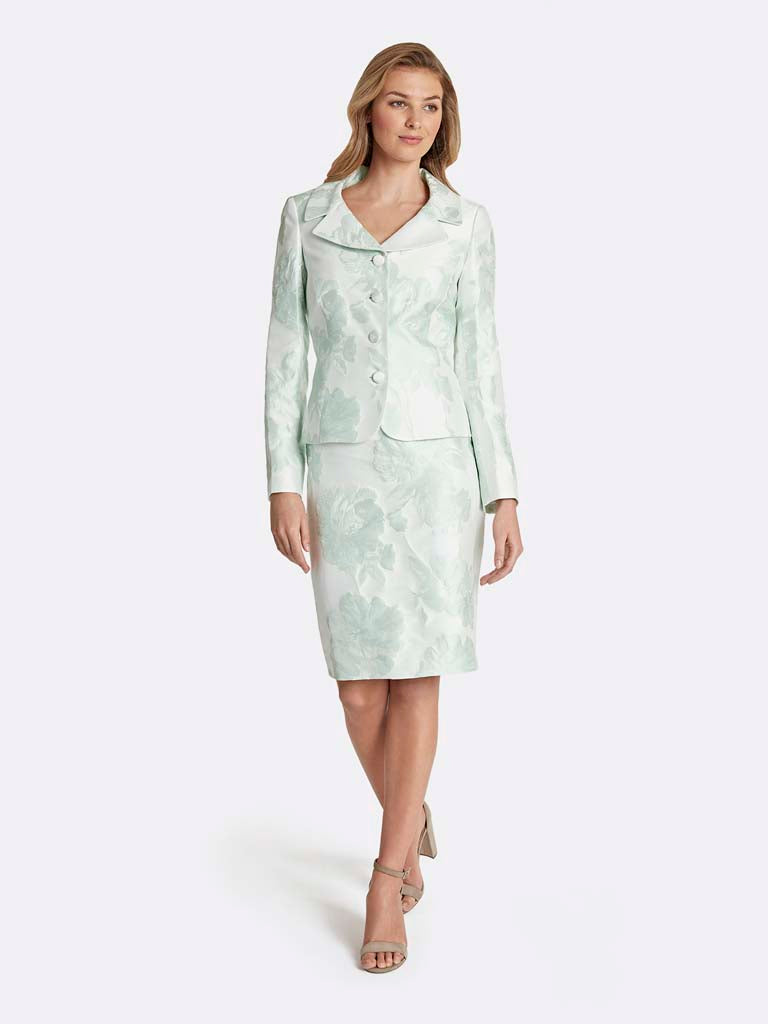 Plus Jacquard Portrait Collar Skirt Suit