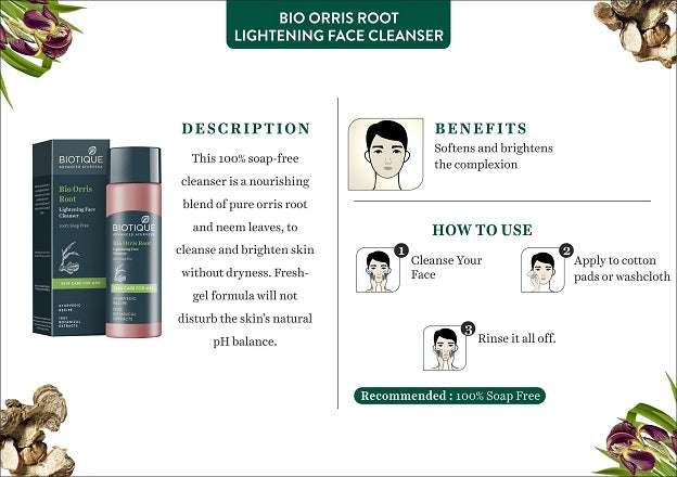 (Biotique) Bio Orris Root Lightening Face Cleanser For Men (120ml)
