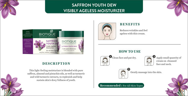 (Biotique) Bio Saffron Youth Dew Visibly Ageless Moisturizer