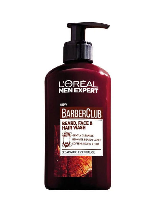 (L'Oreal Paris Men) Barberclub Beard + Face + Hair 3-in-1 Wash (200ml)