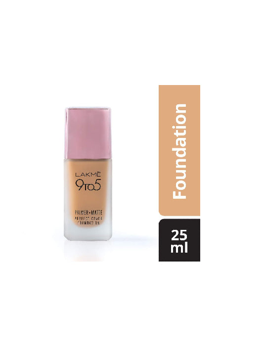 (Lakme) 9to5 Primer + Matte Perfect Cover Foundation - W180 Warm Natural (25ml)