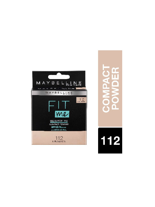 (Maybelline New York) Fit Me Matte+Poreless Compact Powder - 112 Natural Ivory (8g)