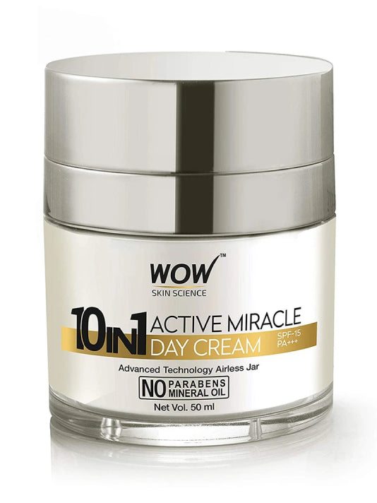 (Wow) Skin Science 10 In 1 Active Miracle No Parabens & Mineral Oil Day Cream-(50ml)