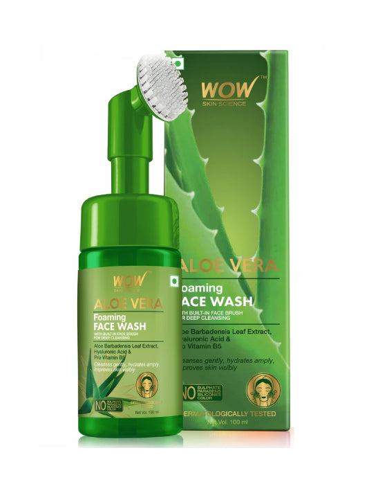 (Wow) Skin Science Brightening Aloe Vera Foaming Face Wash-100ml (With Built-In Brush)