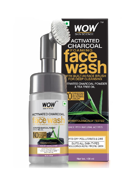 (Wow)Skin Science Brightening Charcoal Foaming Face Wash-100ml (With Built-In Brush)