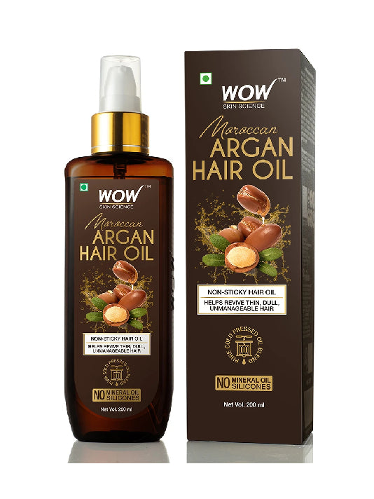 (Wow) Skin Science Cold Pressed Moroccan Argan Hair Oil (200ml)