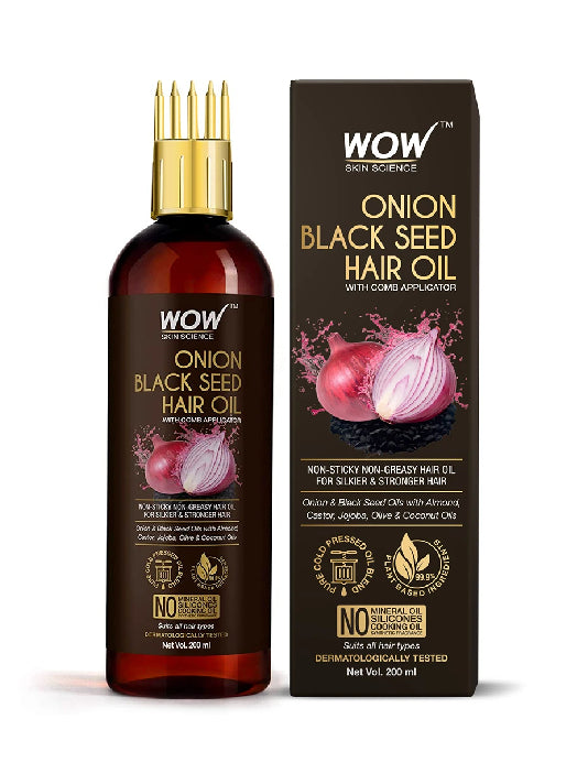 (Wow) Skin Science Onion Black Seed Hair Oil - With Comb Applicator (200ml)