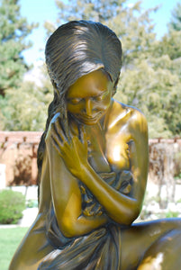 """ Solitaire "" Life Size Figurative Bronze Sculpture.                  60"" high."