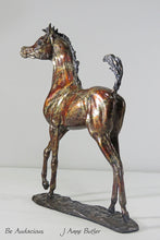 Load image into Gallery viewer, Bronze foal sculpture in contemporary red bronze patina