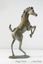 Load image into Gallery viewer, Bronze foal statue in classical bronze patina.