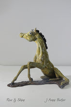"Load image into Gallery viewer, ""Rise and Shine"" Miniature Bronze Foal Sculpture.        6.75"" high"