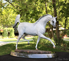 "Load image into Gallery viewer, "" Arabian Dream "" bronze Arabian mare statue"