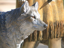 "Load image into Gallery viewer, "" Daughter Who Walks With Wolves ""  Native American Bronze Sculpture."