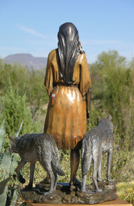 """ Daughter Who Walks With Wolves ""  Native American Bronze Sculpture."