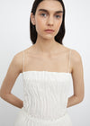 Crinkled silk top off-white