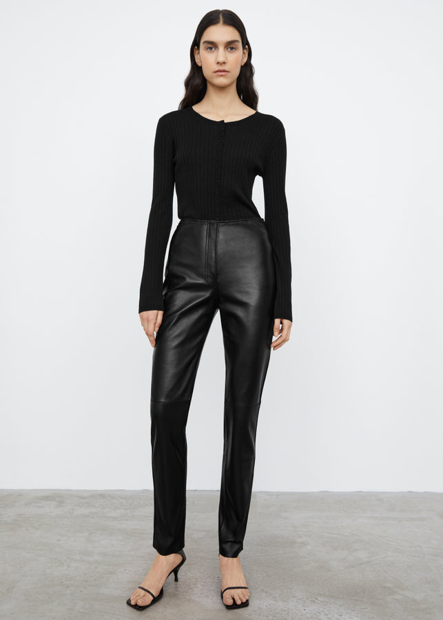 Straight leather trousers black