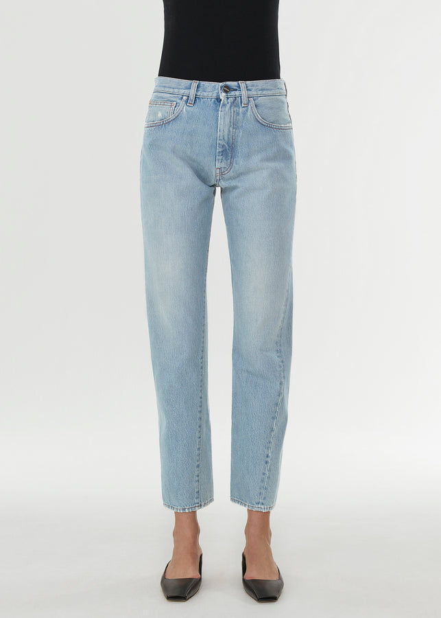 Twisted seam denim light blue wash