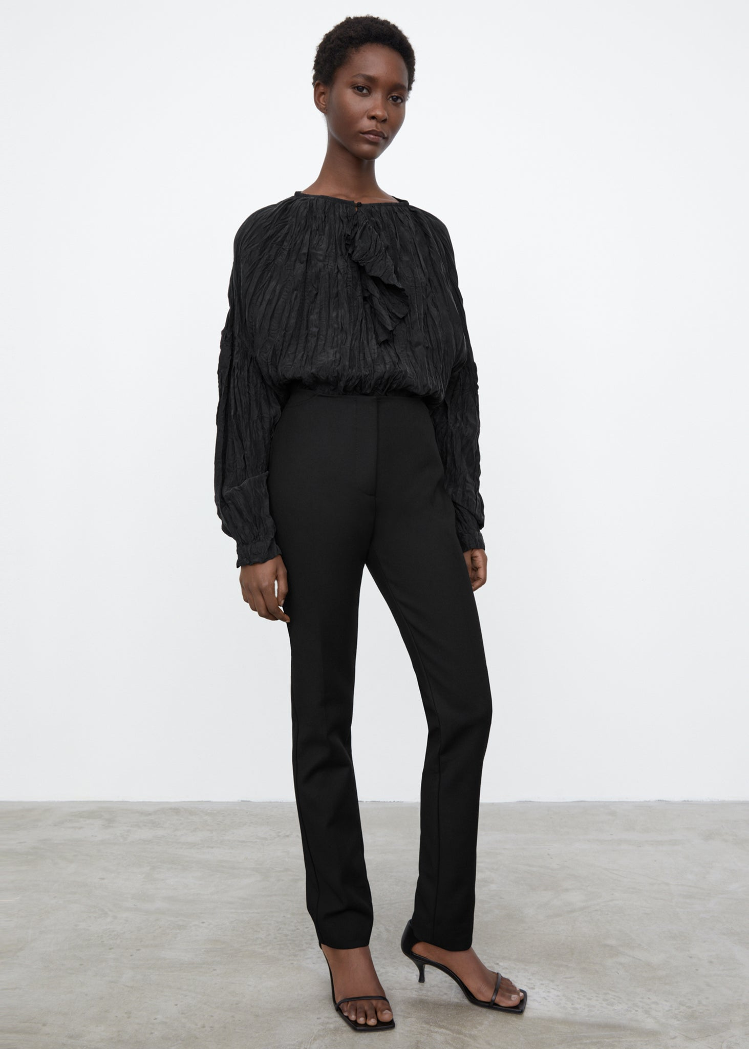 Crinkled silk blouse black