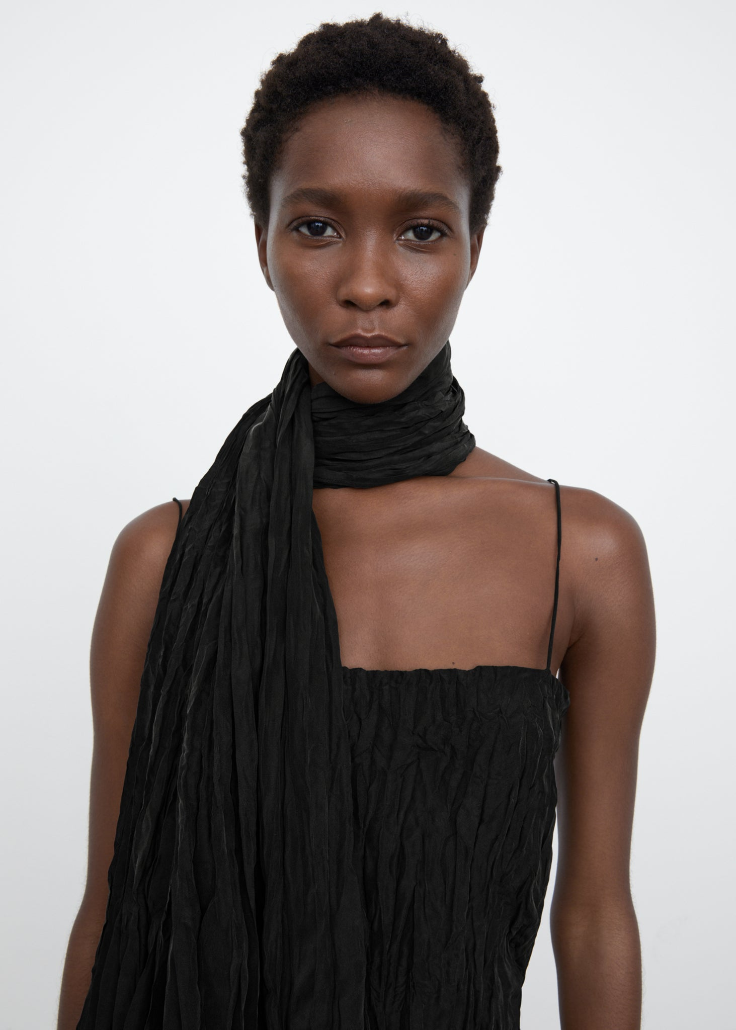 Crinkled silk scarf black