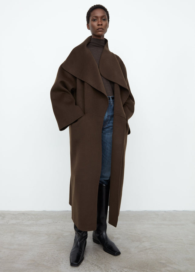Signature wool cashmere coat chocolate brown