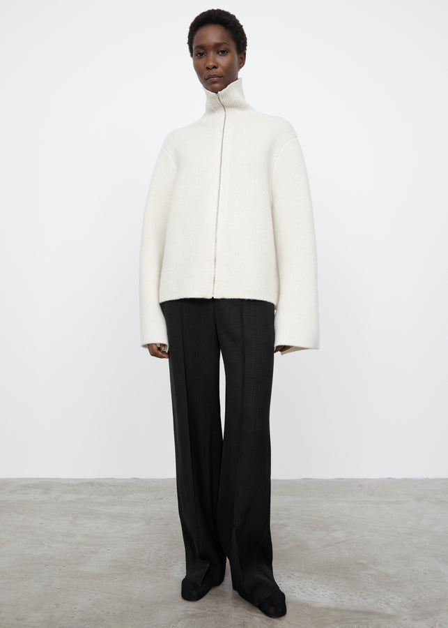 Double cashmere zipper jacket off-white