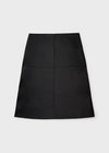 Double-sided leather skirt black