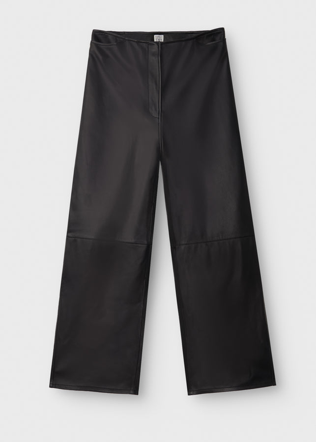 Wide leather trousers black