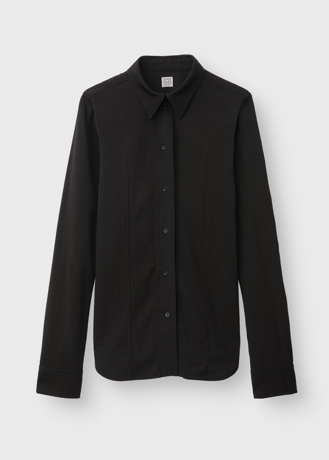 Slim twill blouse black