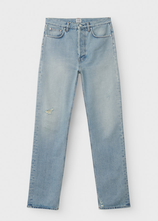 Loose fit denim distressed light blue