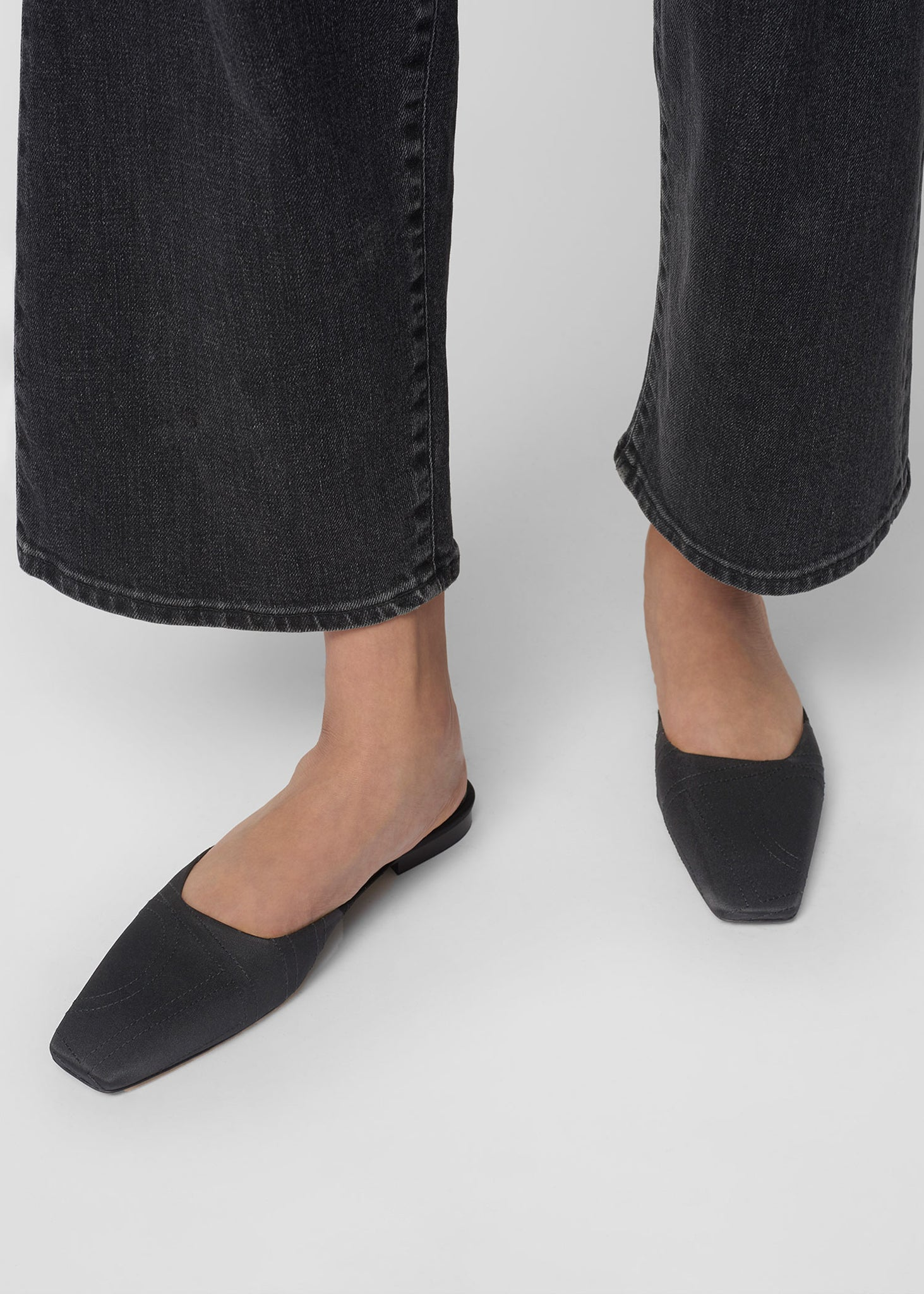 The Flat Mule black satin