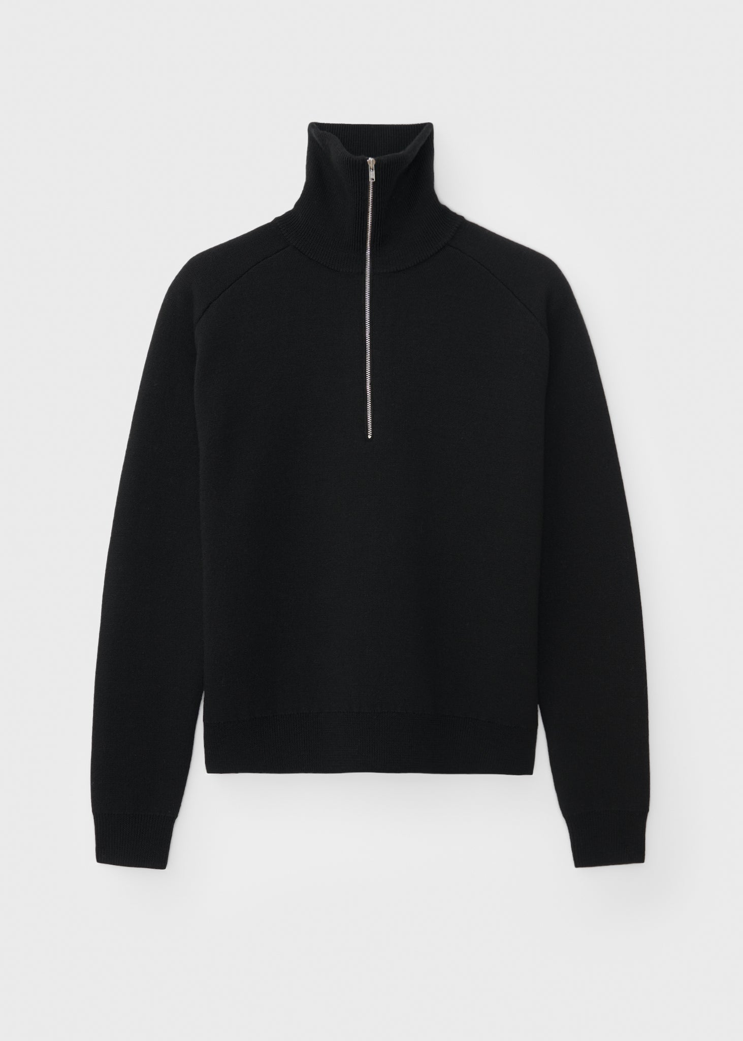 Merino wool zip knit black