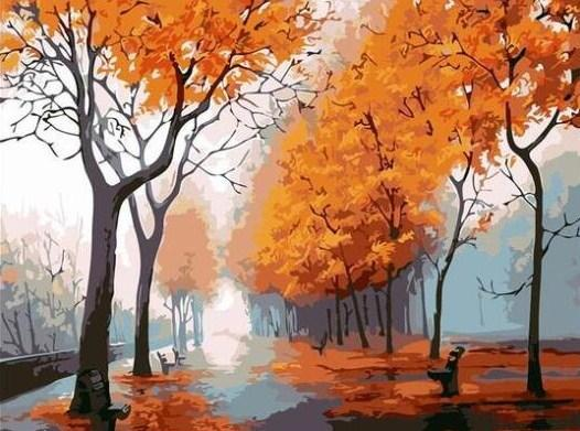 Autumn Trees Street View - All Paint by numbers