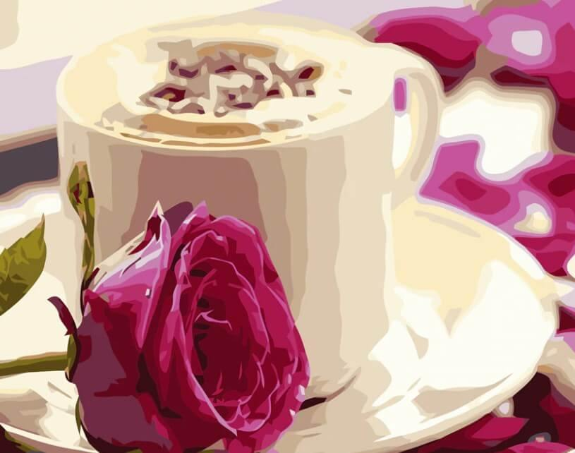 Coffee Cup & Pink Rose - All Paint by Numbers