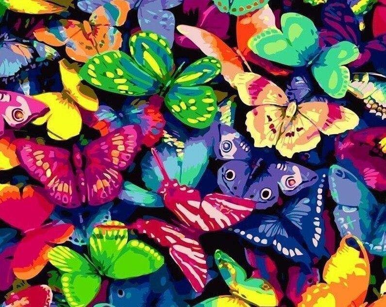 Colorful Butterflies DIY Painting - All Paint by Numbers