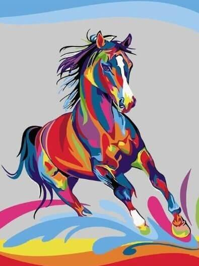 Colorful Running Horse - All Paint by Numbers