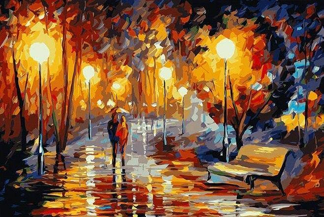 Couple's Night Strolling DIY Painting - All Paint by Numbers