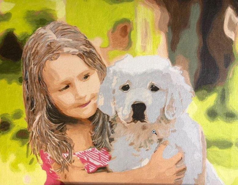 Girl & Puppy Paint by Numbers