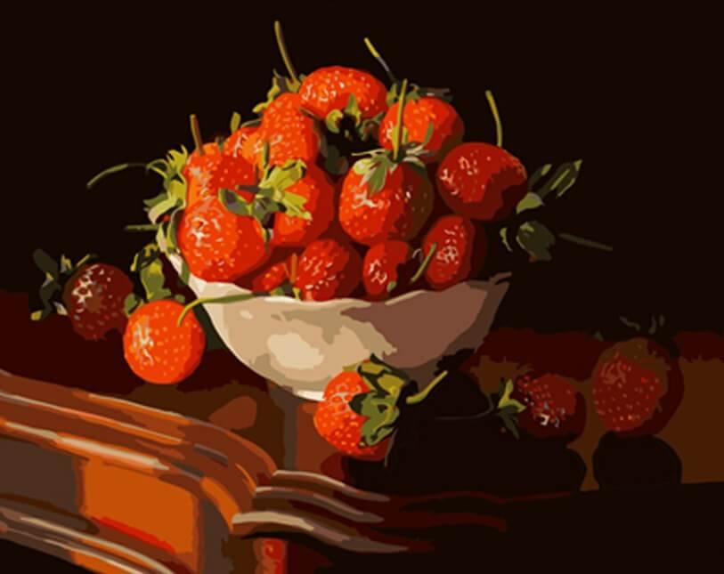 Dish Full of Strawberries - All Paint by Numbers