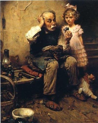 Norman Rockwell Cobbler Studying Doll's Shoe- Paint By Numbers