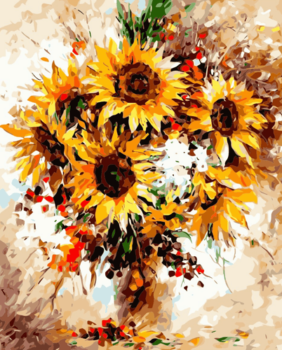 Sunflower Vase Paint by Numbers Kit