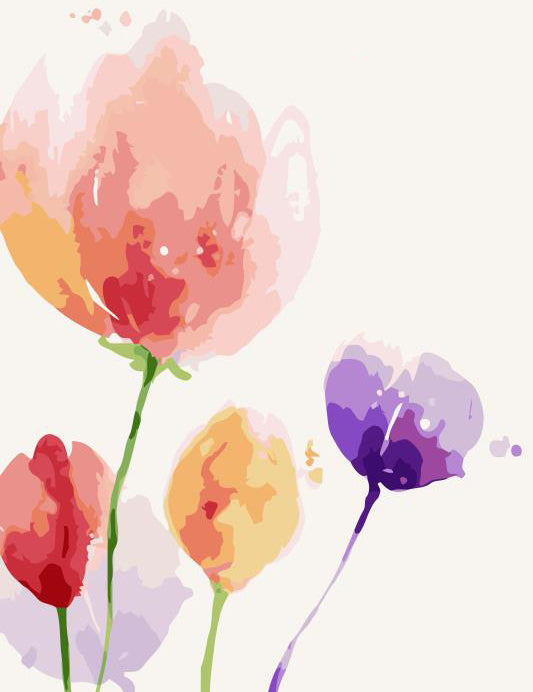 Watercolor Tulip Vector Art
