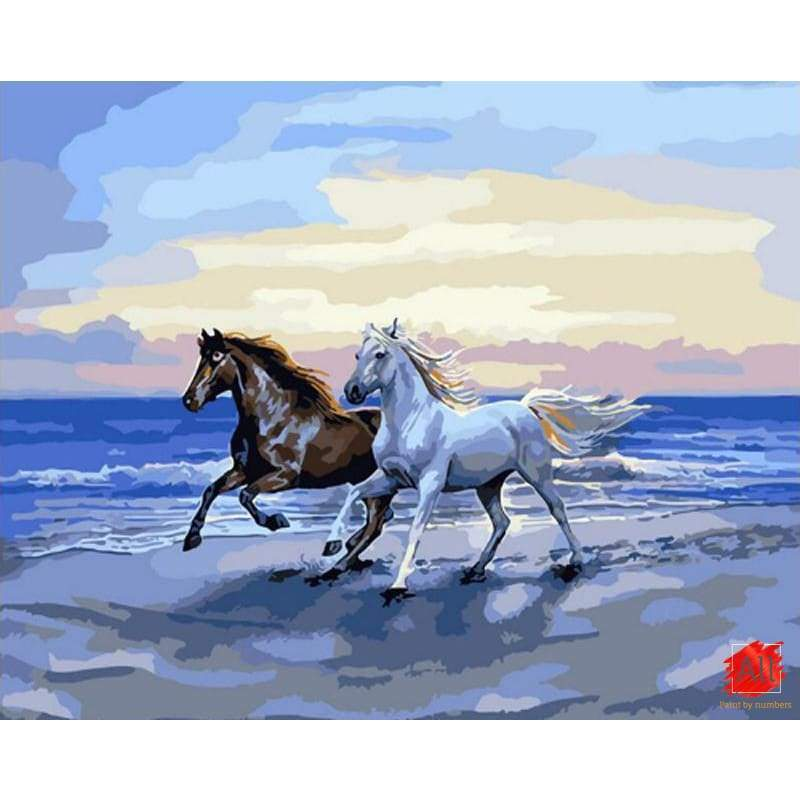horses on the beach paint by number kit