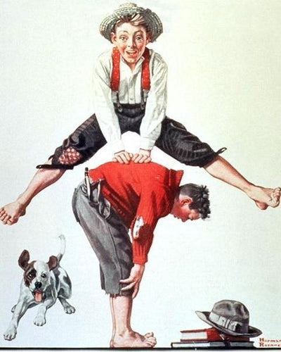 norman rockwell leap frog - painting by numbers