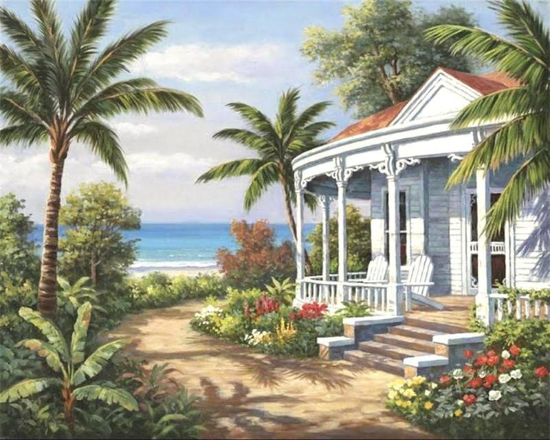 Palm Trees and Rest house near the Beach - All Paint by numbers